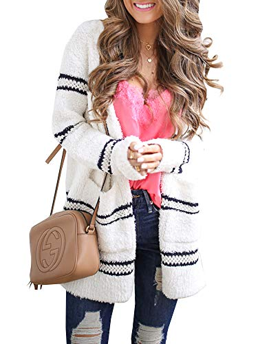 (Ferbia Women Open Front Striped Sweater Fuzzy Fleece Casual Loose Knit Cardigan Color Block Midi Pocket Knits White)