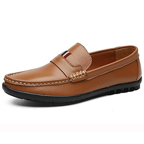 GPF-fei Zapato de Hombre Zapatos de Cuero Mocasines Zapato de conducción Zapatos Perezosos Zapato de Punta Redonda Loafers & Slip-One Guisantes ...