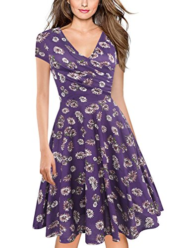 oxiuly Women's V-Neck Cap Sleeve Floral Casual Work Stretchy Swing Dress OX233 (S, Purple Floral) (Juniors Dresses Purple Summer For)
