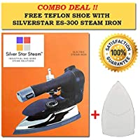 SILVER STAR STEAM 1000W 220V Electric Steam Iron ES-3 with 4.0 L Movable Water Tank (Black and Silver)