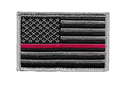 - US Flag Thin Red Line Patch for Firefighters and Paramedics with Hook/Loop Backing