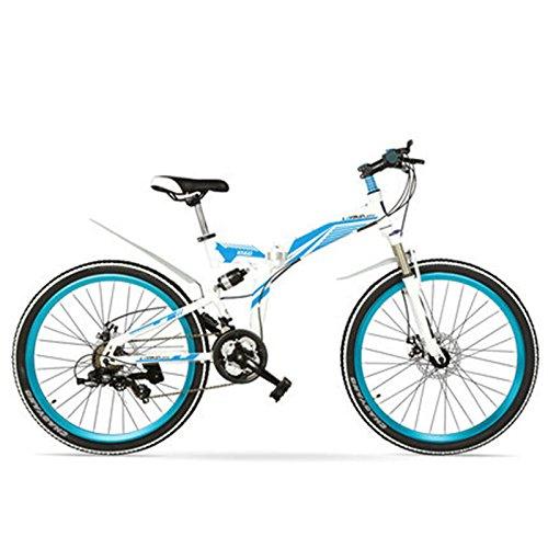 K660M 24/26インチ折り畳みMTBバイク、21速折り畳み自転車、ロック可能フォーク、フロント&リアサスペンション、ディスクブレーキ、マウンテンバイク B078RLMZ34 26 インチ|白靑 白靑 26 インチ