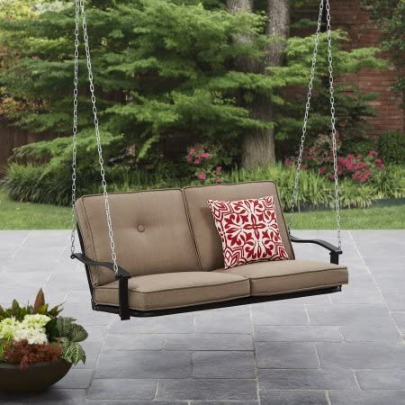 Mainstays Belden Park Outdoor Porch Swing – Tan Seaside Sand Cushions