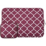 Laptop Sleeve, Mosiso Quatrefoil / Moroccan Trellis Style Canvas Fabric Case Bag for 12.9 iPad Pro / 13.3 Inch Notebook / MacBook Air & Pro with Small Case for MacBook Charger or Magic Mouse, Wine Red