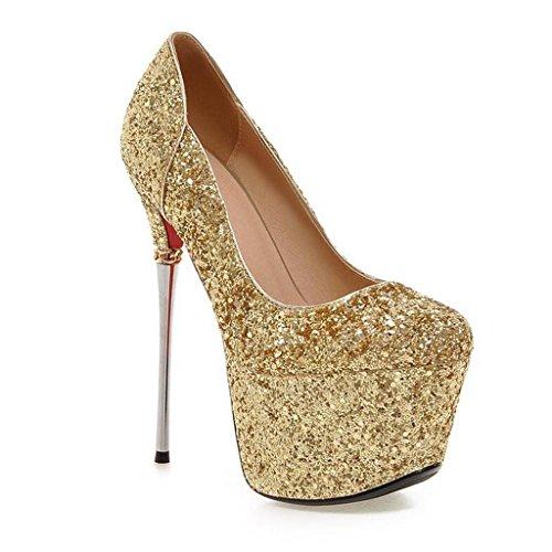 W&LM Sra Tacones altos Muy alto Plataforma a prueba de agua Tobillo De acuerdo Boca rasa Correa Zapatos individuales golden