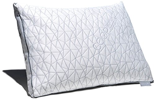 (Coop Home Goods - Eden Shredded Memory Foam Pillow with Cooling Zippered Cover and Adjustable Hypoallergenic Gel Infused Memory Foam Fill - Standard)
