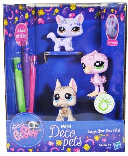 Littlest Pet Shop Design Your Own Pet Mini Deco Pets Series 3 Pack Bobble Head Pet Figure Set - Lavender Color Cat, Pink Flamingo and Brown Boxer Puppy Plus 3 Markers (Green, Purple and (Design Your Own Costume)