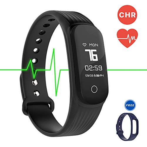 Fitness Tracker Smart Band Continuous Heart Rate Monitor, MGCOOL B3 / B4 Activity Tracker Bracelet Sleep Monitor Step Counter Stopwatch Distance Smart Watch Reminder, Christmas Gift (Band4-Black/Blue)