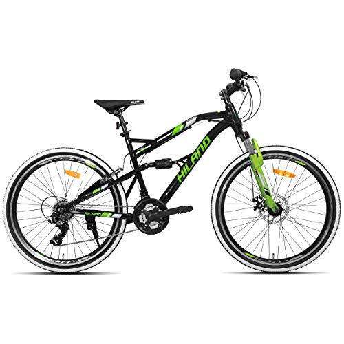 Hiland Mountain Bike,Steel Full Dual-Suspension 26-Inch Wheels Bicycle with Disc Brakes, 21 Speeds Shimano Drivetrain ()