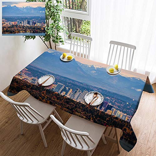 Cream Bellevue - HOOMORE Simple Color Cotton Linen Tablecloth,Washable, Aerial View of Bellevue Washington Decorating Restaurant - Kitchen School Coffee Shop Rectangular 72×54in