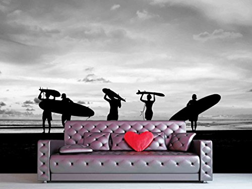 wall26 - Silhouette Of surfer people carrying their surfboard on sunset beach, black and white color - Removable Wall Mural | Self-adhesive Large Wallpaper - 100x144 inches (People Silhouette)