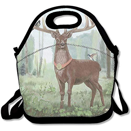 Proud Deer Standing In The Woods On His Horns Birds Appliances Picturesque Watercolor Best Lunch Tote Lunch Bag Office ()