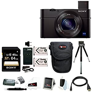 Sony Cyber-shot DSC-RX100M2/B RX100M2 RX100M II RX100MII 20.2MP Wi-Fi Digital Camera Bundle with Sony 64GB Memory Card + Wasabi Power Replacement Battery for Sony DSC-RX1 + Sony Soft Carrying Case + Wrist Grip Strap + Camera Accessories