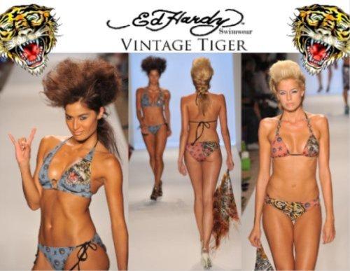 Vintage Tiger Adjustable Triangle Swimwear Top (Coral, - Hardy Ed Bikini Women