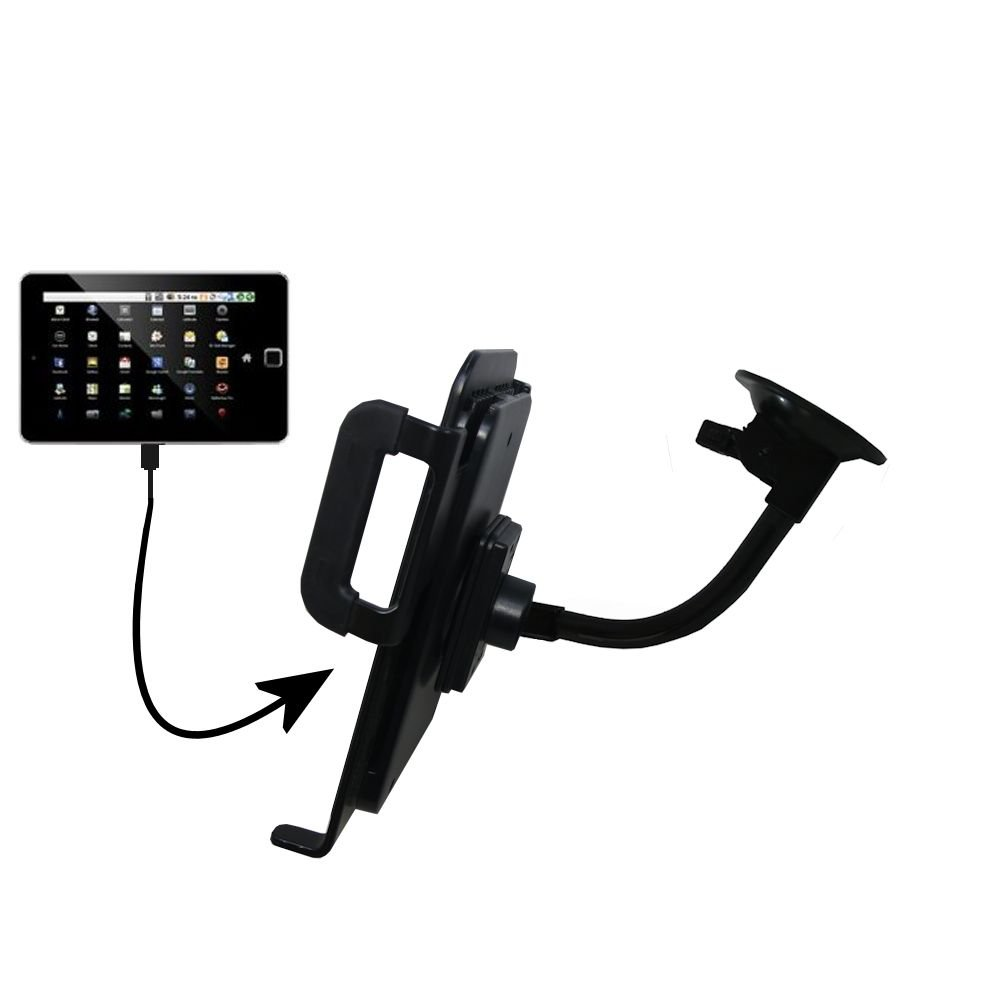 Gooseneck Holder Base with Suction Cup Mount compatible with Elonex 760ET eTouch Android Tablet Tablet