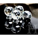 16 x Crystal Glass Clear Cupboard Door / Drawer Knobs *Mabel* 40mm Drawer Kitchen Silver by AHG