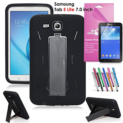 Samsung Galaxy Tab E Lite 7.0 Case, EpicGadget(TM) Heavy Duty Rugged Impact Hybrid Case with Build In stand Protection Cover For Galaxy Tab E 7 T113 + Screen Protector + Pen(US Seller)(Black/Black)