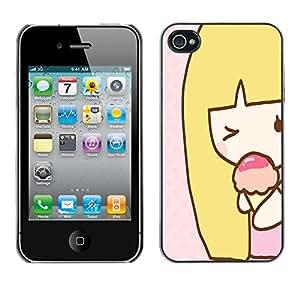 - Cute Girly Lovely - - Monedero pared Design Premium cuero del tir¨®n magn¨¦tico delgado del caso de la cubierta pata de ca FOR Apple iPhone 4 4S 4G Funny House