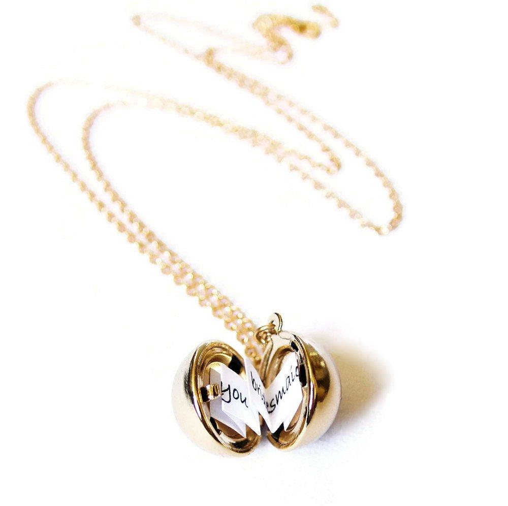 Ball Locket Necklace,Secret Message Necklace,Family Album Locket,Locket Necklace,Memory Locket,Bridesmaid Gift,Proposal Gift,Graduation Gift