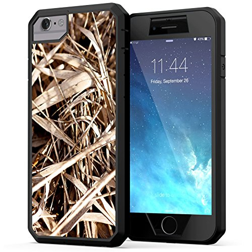 iPhone 6, iPhone 6s Camo Case, True Color Grass Camo [Camouflage Collection] Heavy Duty Hybrid + 9H Tempered Glass 360° Protection [True Armor Series] - Black