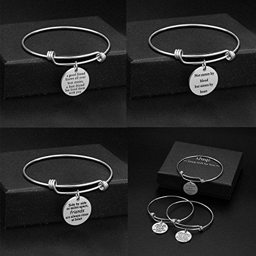 iJuqi Charm Charm Bracelet - 3 PCS Stainless Steel Expendable Inspirational Bangle Bracelets BFF Jewelry Set Graduation Gifts Birthday Gifts (3 Pcs- White) by iJuqi (Image #6)