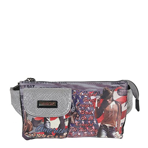 Nicole Lee Western Print Fanny Pack, Cowgirl Flag Silver, One Size