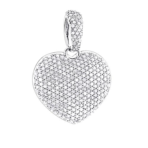 Luxurman 14K Ladies Pave Set Natural 0.8 Ctw Diamond Heart Necklace For Her (White Gold)