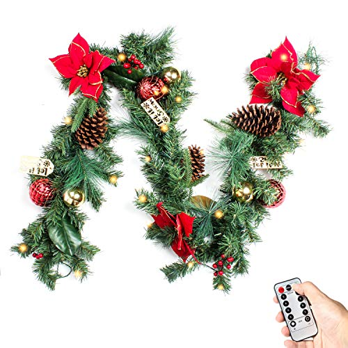 Costyleen 6 Feet Christmas Garland Decorations Outdoor Indoor Artificial Pine Wreath Xmas Decors with Remote Controlled 30 LED Lights, Ball Ornaments Pine Cones Red Flowers