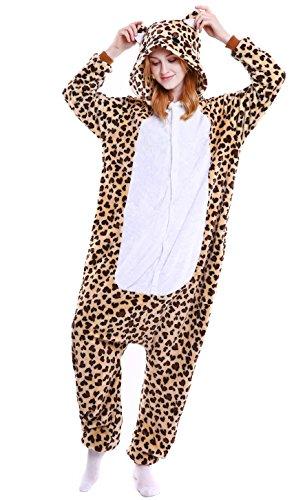 AooToo Womens Unisex Flannel Halloween Cute Bear Animal Costume Pajamas(Leopard, S) (Cute Leopard Halloween Makeup)