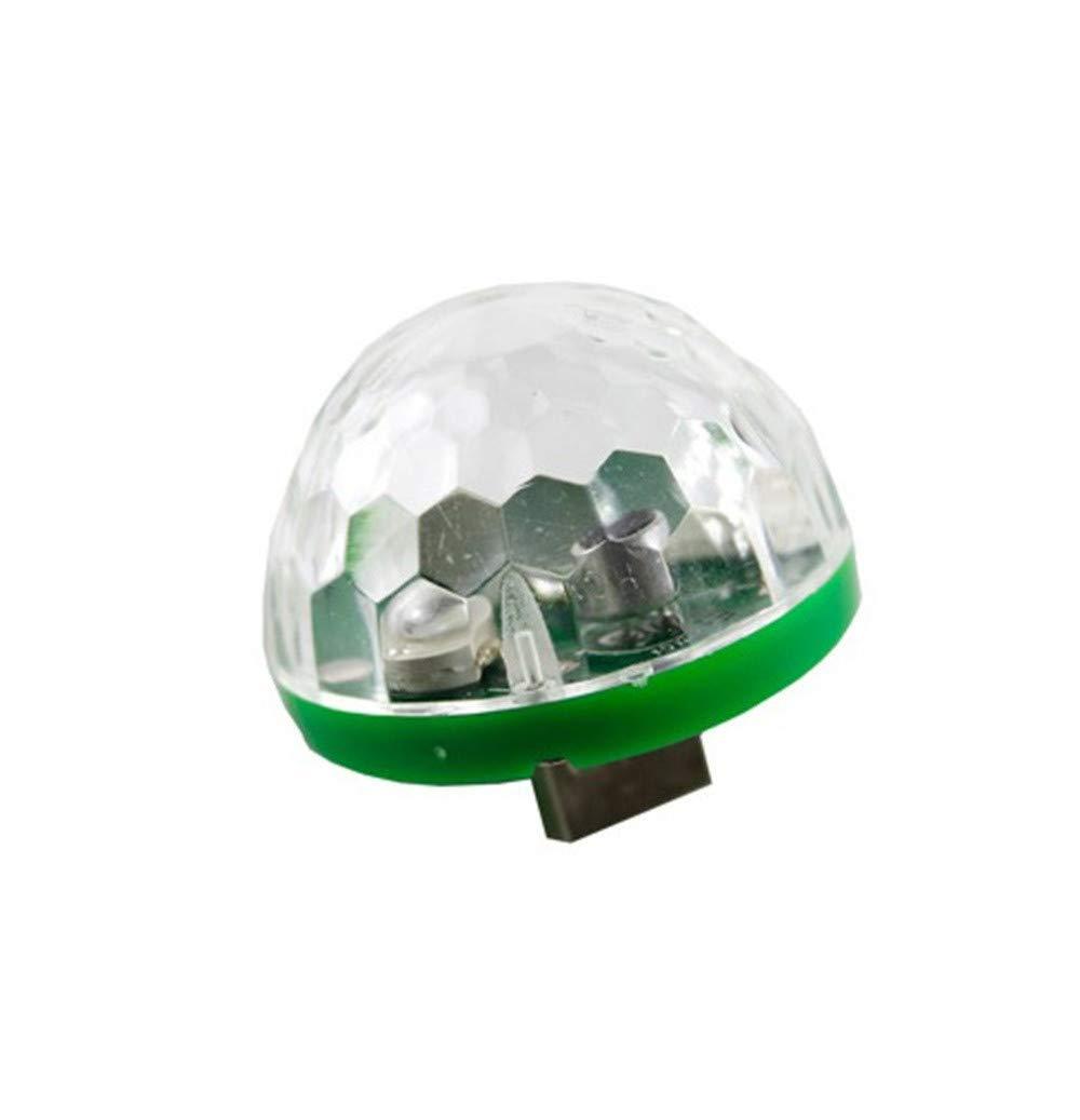 DEESEE(TM) NewUSB Mini LED RGB Disco Stage Light Party Club DJ KTV Xmas Magic Phone Ball Lamp 5Colors (Green)