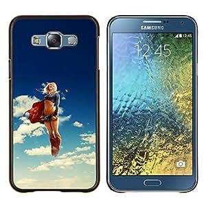 KLONGSHOP // Cubierta de piel con cierre a presión Shell trasero duro de goma Protección Caso - Super Girl héroe - Samsung Galaxy E7 E700 //