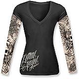 Lethal Threat LT20284L Women's Long Sleeve Shirt (Skulls N Tattoos Ls)(Black, Large), 1 Pack