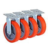 OrangeA Scaffolding Casters 8 X 2 Inch Heavy Duty Swivel Casters Scaffolding Polyurethane Wheel with Brakes Set of 4 Rolling Scaffold Caster Capacity per Caster 800 lbs