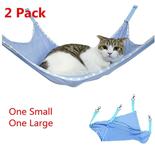 (BILIGO 2 Pcs Blue Pet Cat Breathable Mesh Hammocks Little Pet Hanging Sleeping Bed Radiator Pad For Summer, Under Chair Hammock Cradle Crib for Small Animals)