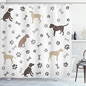 "Ambesonne Dog Lover Shower Curtain, Paw Print Bones and Dog Silhouettes American Foxhound Breed Playful Pattern, Cloth Fabric Bathroom Decor Set with Hooks, 70"" Long, Umber Beige 9"