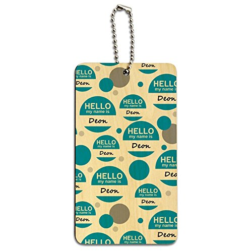 Wood Luggage Card Suitcase Carry-On ID Tag - Hello My Name Is De-Dy - Deon Hello My Name Is