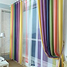 FADFAY Luxury Modern Jacquard Colorful Strip Grommet Top Energy Saving Curtain Modern Rainbow Blackout Living Room Curtains 2Panels