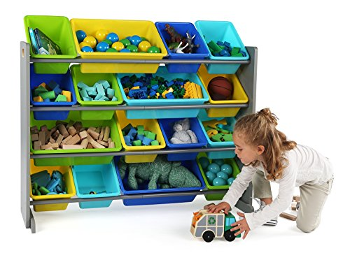 51suvtwNFZL - Tot Tutors WO498 Elements Collection Wood Toy Storage Organizer, X-Large, Grey/Blue/Green/Yellow