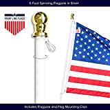 Front Line Flags Flag Pole: 6' Ft White Aluminum Flagpole | Spinning & Tangle Free | Heavy Duty | Wind Resistant and Rust Free | Best Quality Wall Mount Flagpole P/N FL6W
