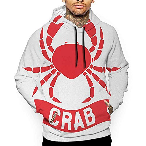 Hoodies SweatshirtAutumn Winter Crabs,Exotic Aquatic Animal Symbol in Red Marine Cuisine Icon Ocean Wildlife Shellfish,Scarlet White Sweatshirt Blanket Throw