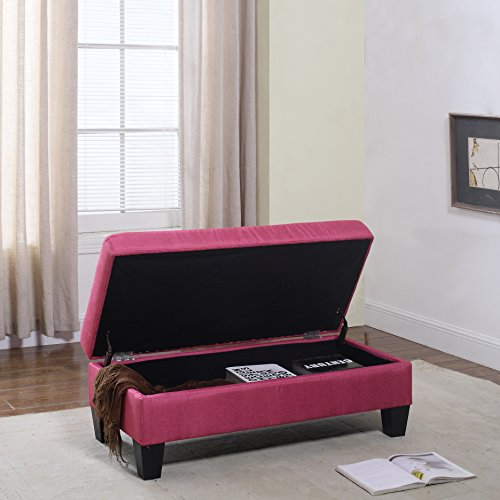 Classic Large Fabric Rectangular Storage Ottoman Bench (Rose Red) - Fabric Upholstered Bedroom Storage Bench