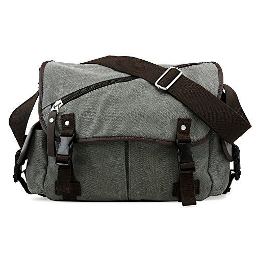 Oct17 Men Messenger Bag School Shoulder Canvas Vintage Crossbody Military Satchel Bag Laptop Gray
