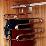 Ecolife Sturdy S-type Multi-Purpose Stainless Steel Magic Pants Hangers Closet Hangers Space Saver Storage Rack for Hanging Jeans Scarf Tie(Set of 2)