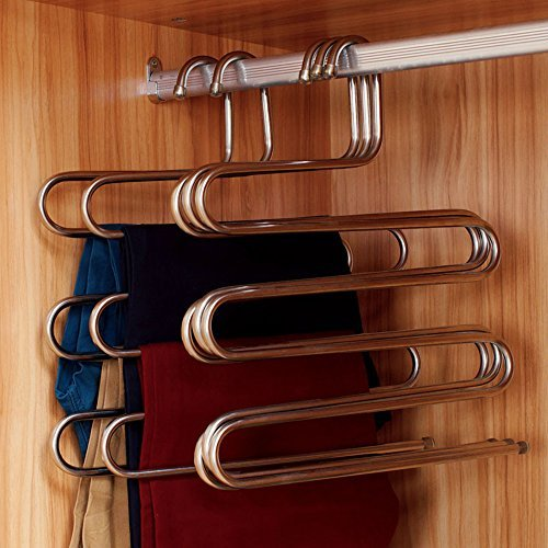 Ecolife Sturdy S-type Multi-Purpose Stainless Steel Magic Pants Hangers Closet Hangers Space Saver Storage Rack for Hanging Jeans Scarf Tie(Set of 5) by Eco life