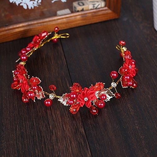 012 Yarn - Chinese Korean Sweet Yarn Wedding Party Dress Toast Clothing red Bridal Hair Accessories Head Flower Handmade Pearl Headdress (012 Hair Bands Headdress