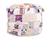 Indian 18x14'' Indian Pouf Stool Vintage Patchwork Embellished with Patchwork Living Room Ottoman Cover, Patchwork Foot Stool Cover,Decorative Handmade Home Chair Cover Only Cover, Filler not Included,