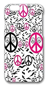 iPhone 6 Cases, Pink Zebra Peace Sign Protective Snap-on Hard Case Back Cover Protector Slim Rugged Shell Case For iPhone 6 (4.7 inch)