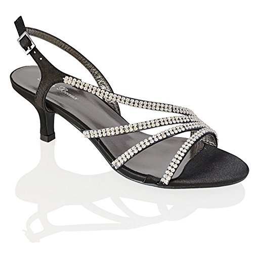 Essex Glam Womens Mid Heel Diamante Bridal Synthetic Party Evening Sandals Black Satin