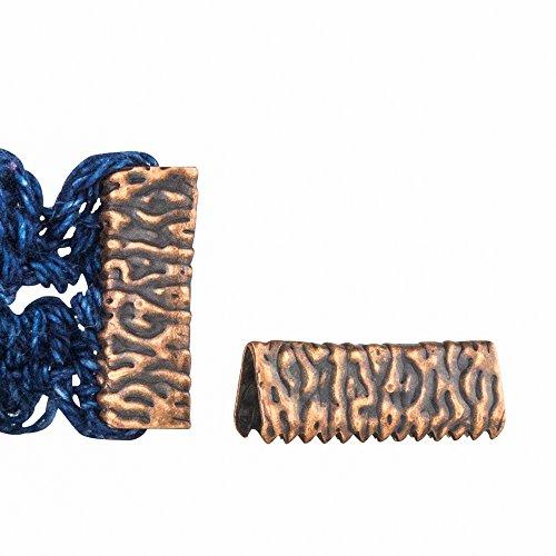 Twilight's Fancy 16pcs 16mm or 5/8 inch Antique Copper Ribbon Clamp End Crimps - Artisan Series, No Loop