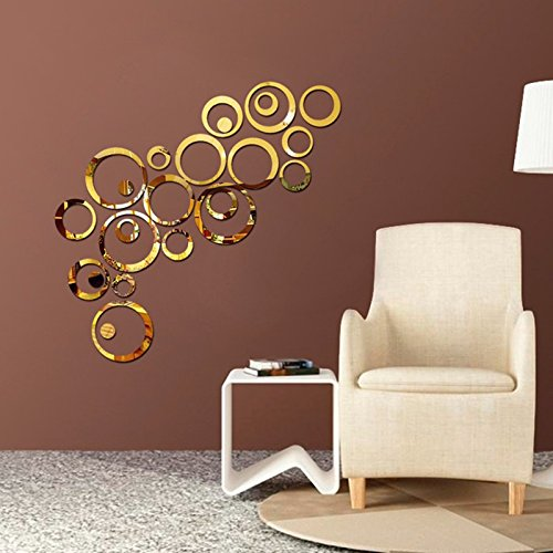 Atulya Arts Rings and Dots (Pack of 24) 3D Acrylic Stickers Decorative Sticker Acrylic Mirror Wall Stickers for Bedroom…